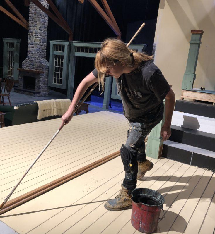 Jen painting the floor of Deathtrap