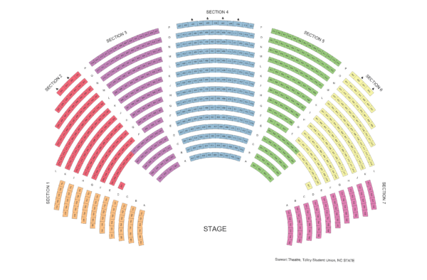 Seating chart for Stewart Theatre in Talley Student Union, NC State campus