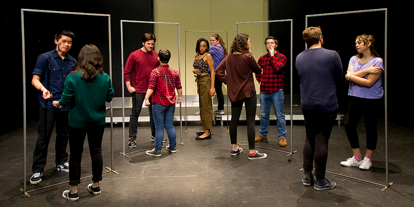 "Cast ""Reflections"" publicity image for Natalie Sherwood's ""A Good Little Rain"" at Thompson Hall's Studio Theatre, March 20-24, 2019."